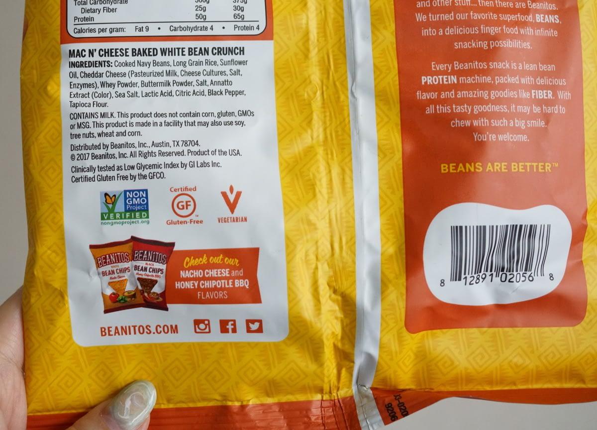 アイハーブおすすめグルテンフリー・トランス脂肪酸フリー・非遺伝子組み換えのお菓子 Beanitos, ホワイトビーンクランチ、マカロニアンドチーズ